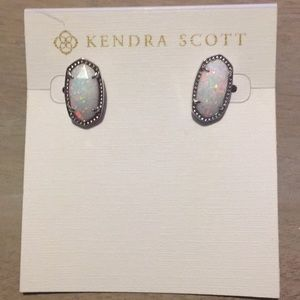 Kendra Scott White Iridescent Sparkle Ellie Studs